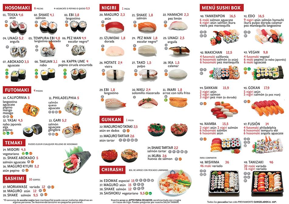 Carta sushi Yan Ken Pon