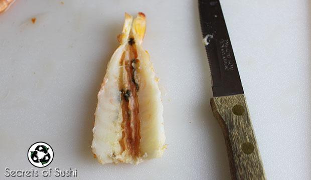 Ebi sushi corte gamba