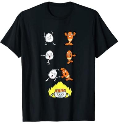 Camiseta sushi y dragon ball