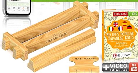 Máquina de madera para hacer sushi